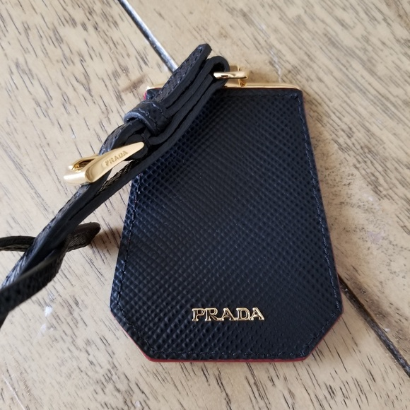 Prada Accessories   Black Red Saffiano Leather Purse Bag Tag   Poshmark 247792d005